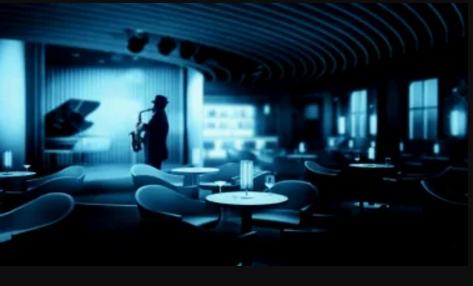 Jazzklubbi. Dark siluett of a man playing saxophone.